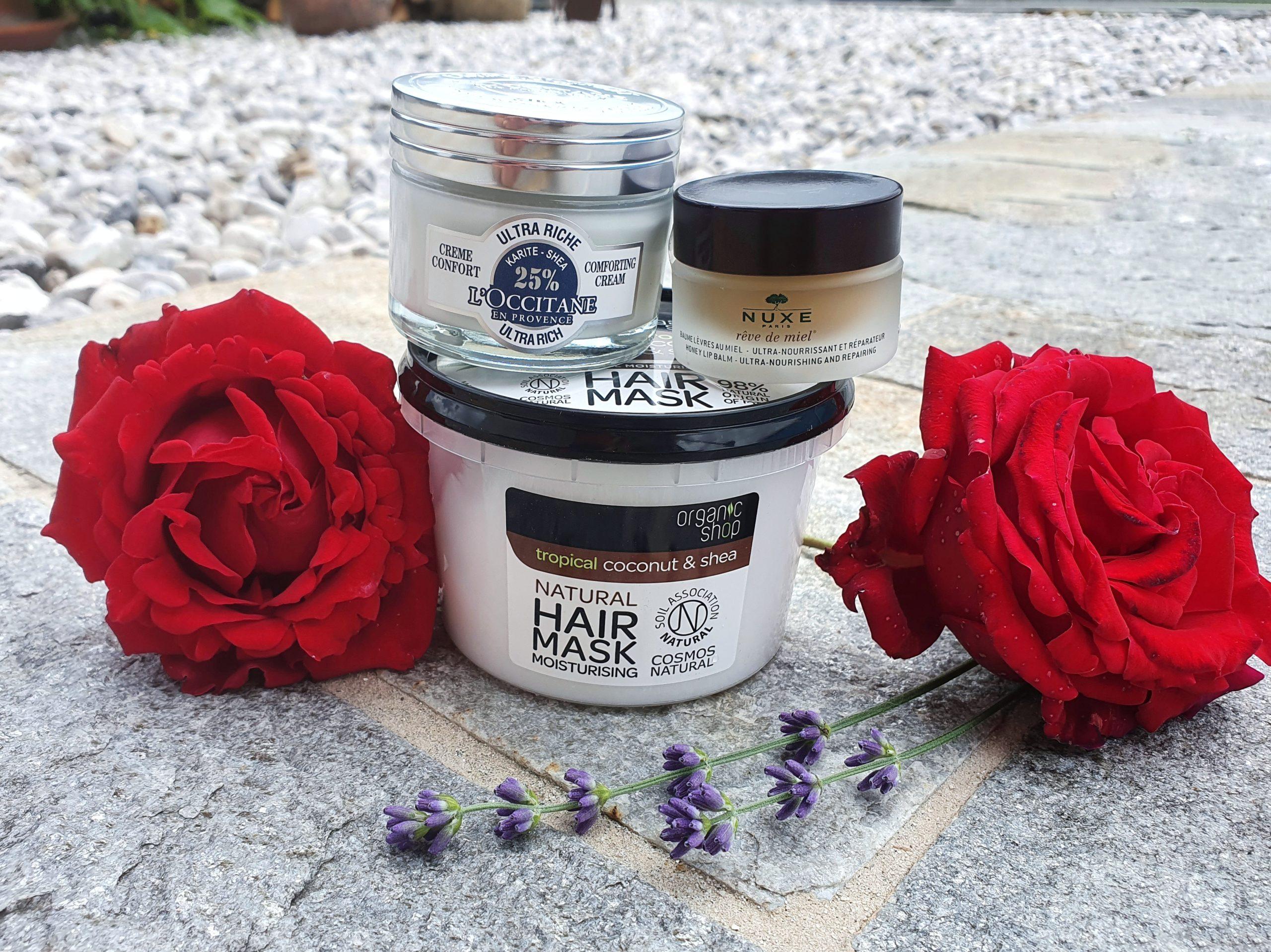 Nuxe Lippenbalsam, Organic Shop Kokos Haarmaske, Gesichtscreme mit Sheabutter von L'Occitane.